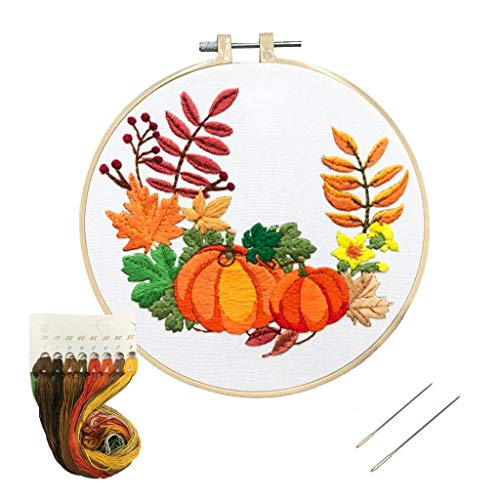 Louise Maelys Beginner Embroidery Kit Pumpkin Wreath Cross Stitch Adults DIY Needlepoint Crafts Kits for Decor Gift