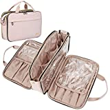 NISHEL Travel Toiletry Bag, Portable Makeup Organizer, Foldable Cosmetic Bag, Travel Cosmetic Case for Full Sized Toiletries, Pink