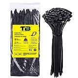 Bridas de Plastico para Cables, Bridas de Nylon Negras 300 mm x 7,6mm, TDEBSSY Bridas de Nylon Negras Bridas Cables de Nylon con 54 kg de resistencia a la tracción (100 Piezas, Negro)