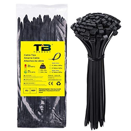 Bridas de Plastico para Cables, Bridas de Nylon Negras 300 mm x...