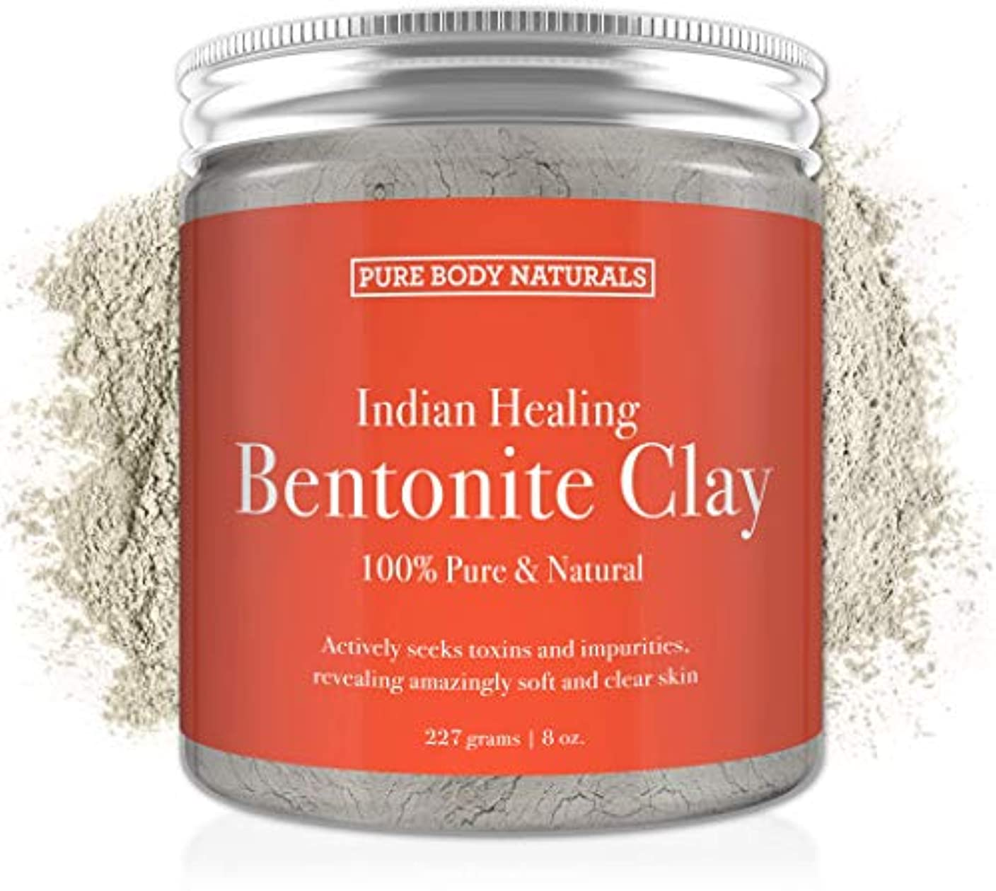 Pure Bentonite Powder for DIY Detox Bath & Face Mask, Pure Indian Healing Clay for Burns, Mastitis, Inflamed or Chapped Skin (8.8 oz) - Pure Body Naturals