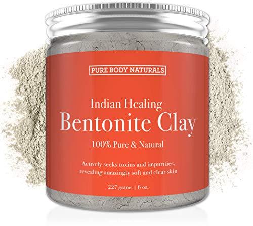 Pure Bentonite Powder for DIY Detox Bath & Face Mask, Pure Indian Healing Clay...