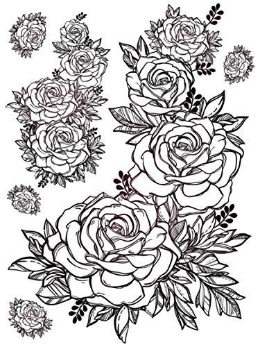Supperb Temporary Tattoos - Hand Drawn Black Roses Flowers Tattoos