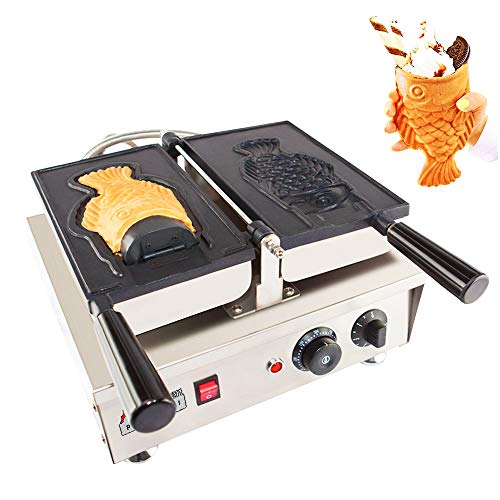ALDKitchen BIG Open Mouth Fish Taiyaki Cone Maker | Stainless Steel Professional Taiyaki Machine with Nonstick Baking Molds | 1 Big Open Mouth Fish Shaped Cone | 110V | 1.5kW