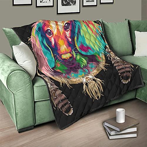 AXGM Colcha multicolor con diseño de perro atrapasueños (150 x 200 cm)