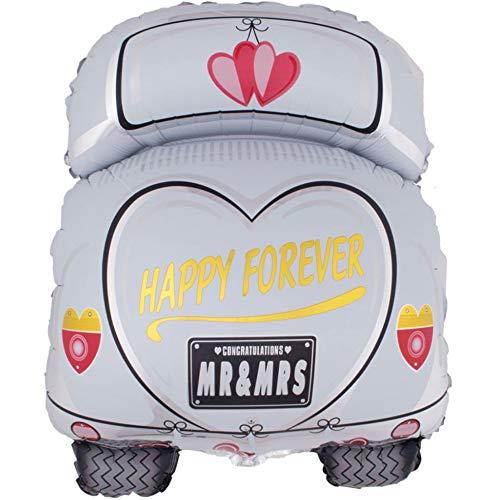 DIWULI, Hochzeit Auto Luftballon, Mr and Mrs, Just Married, Folien-Luftballon, Wedding Folien-Ballon, Hochzeits-Deko für Hochzeitsfeier, Hochzeitstag, Silber-Hochzeit, Verlobung, Dekoration, Liebe