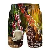 Aerokarbon Hombres Playa Bañador Shorts,Taza café Humo Granos Saco de arpillera,Traje de baño con Forro de Malla de Secado rápido 3XL
