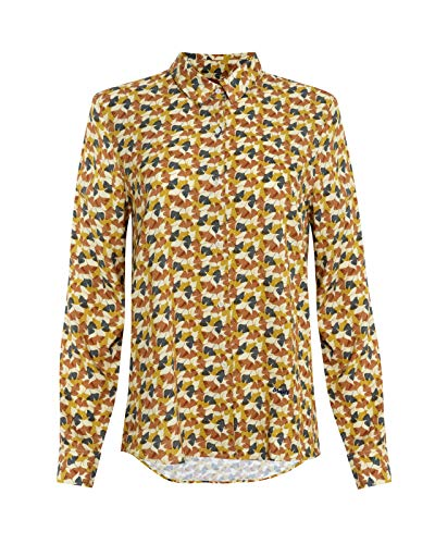 Brava Fabrics - Blusa Mujer Manga Larga Estampada - Blusa Estampada Mujer - Blusa Casual Regular Fit - 100% Algodón - Modelo Ginkgo