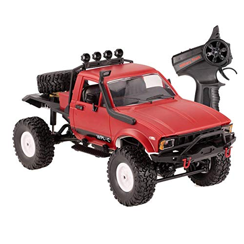 The perseids Remote Control Car, 1:16 2.4G 2CH 4WD RC Off-Road Military Semi-Truck Vehicle High Speed Climb Truck RTR Hobby Toy for Boys Kids Teens in Red