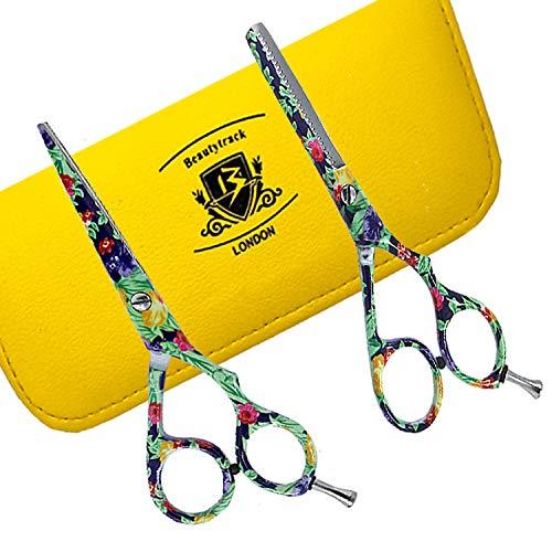 """BeautyTrack estuche 5.5 """"(13,7 cm) y tijeras para entresacar barbero peluquería Tijeras + tijeras negro cocodrilo Funda de viaje"""