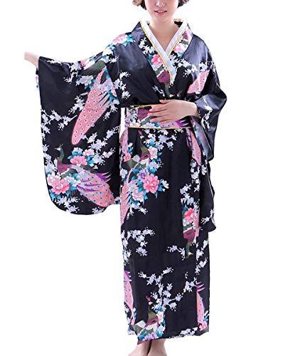 Botanmu Women's Kimono Robe Japanese Dress Photography Cosplay Costume 5 Colors (Negro)