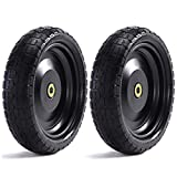 """Steerling Tire Co. 13"""" Flat-Free Wheelbarrow Tires - Includes 2 Replacement Wheels, Cotter Pins and Washers - Easy Installation, Compatible with Gorilla Carts, Trolleys, Generators and More"""