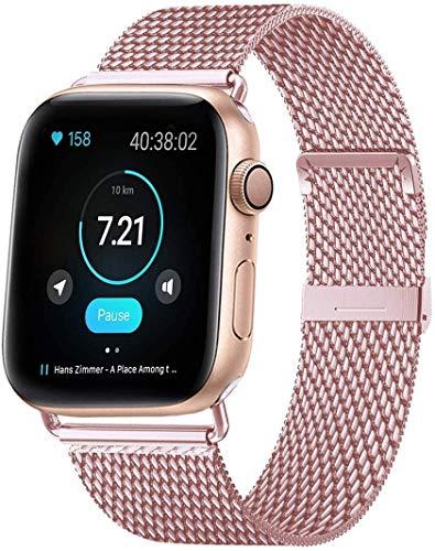 VIKATech Bracelet de Remplacement Compatible avec Apple Watch Bracelet 44mm 42mm 40mm 38mm, Bracelets de Rechange Smartwatch avec Aimant compatibles avec iWatch Series 6/5/4/3/2/1, Oro Rose