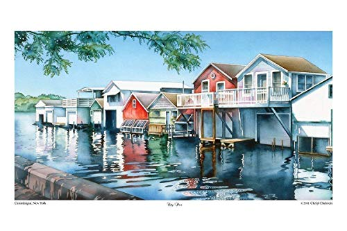 City Pier Boathouses Canandaigua - Poster Art Father's day Gift painting by Cheryl Chalmers