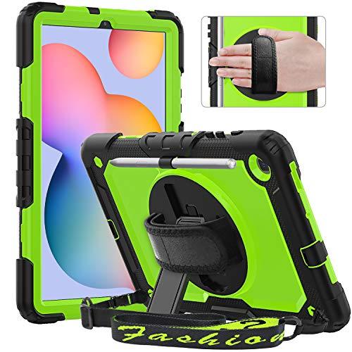 Timecity Hülle für Samsung Galaxy Tab S6 Lite 10,4 Zoll (SM-P610/P615). Anti-Fall Hülle mit Displayschutz, Handschlaufe & Schulterriemen, 360 ° Drehbarer Ständer, Bleistifthalter - Gelbgrün
