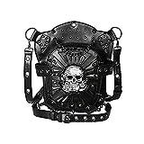YPFALP Bolsa de Hombro para Hombre Piel Cráneo Unisex De Vapor De Época Gótica Punky Crossbody del Hombro Cintura De La Pierna Bolsa Mochila Back Packs Men