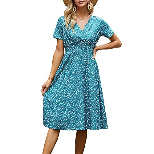 Pabuyafa Vestido de verano Boho con estampado floral con cuello en V de manga corta, cintura alta, Midi Slim Fit Vestidos de playa, verde oscuro, M
