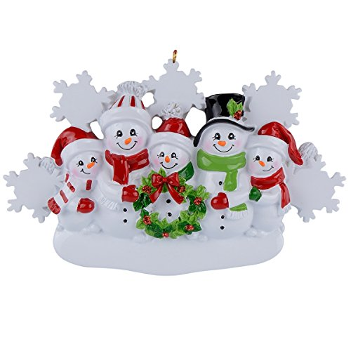 WorldWide Snowman Family of 5 Personalized Christmas Tree Ornament 2021 Custom for Grandparents, Parents, Kids, Neighbors