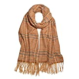 SOJOS Tartan Plaid Houndstooth Checked Soft Scarf For Women, Winter Warm Classic Cashmere Feel Long Scarf, Shawls Wraps SC337 with Yellow