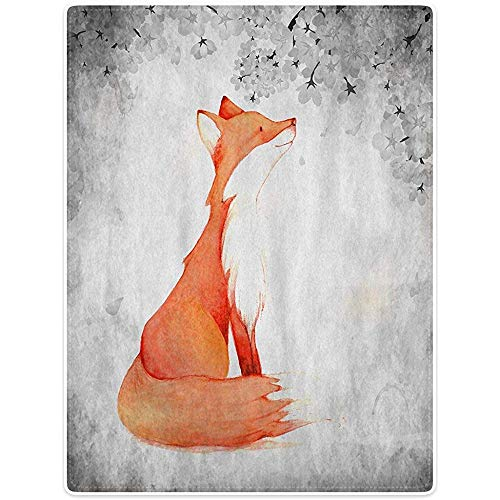 Annays Jeter La Couverture S Nature Fox Couverture en Flanellette en Polaire 102X127Cm