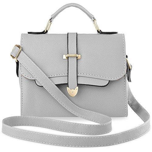 Unbekannt Damentasche Henkeltasche Köfferchen Bowling Bag Handtasche Schultertasche - Grau