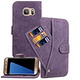Asuwish Samsung Galaxy S7 Edge Wallet Case,Leather Phone Cases with Credit Card Holder Slot Kickstand Stand Slim Full Body Flip Folio Protective Cover for Galaxy S7edge 7Edge 7Sedge Girls Men Purple