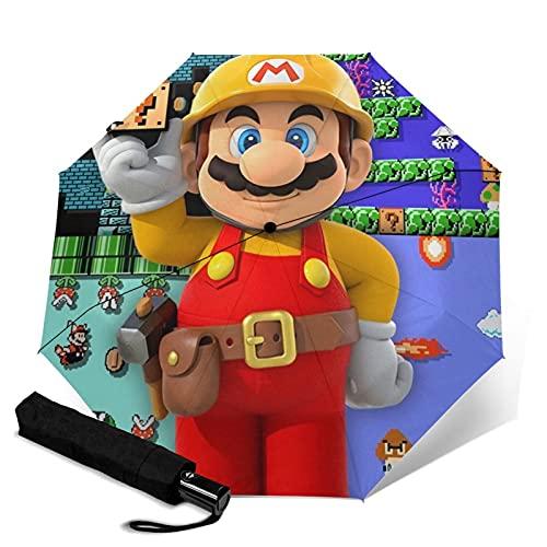 Super Mario Paraguas automático de tres pliegues paraguas paraguas de viaje portátil con mango para adultos y niños unisex
