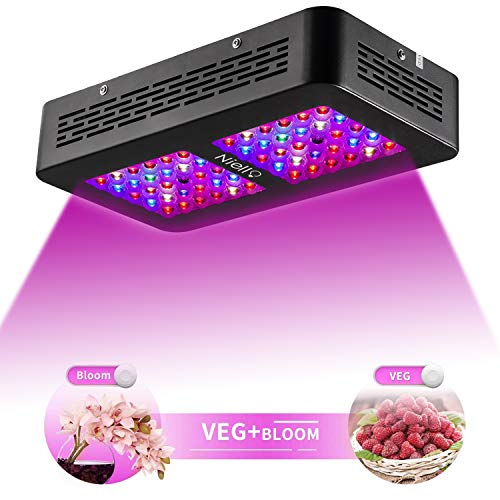 Niello® 300W Optical Lense Series LED Pflanzenlampe Dual LED Grow Light UV IR Vollspektrum Wachsen mit 2 Schalter für Zimmerpflanzen Gemüse und Blumen