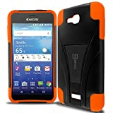 Kyocera Hydro Air Case, Kyocera Hydro Wave Case, CoverON [Dual Defense] Hybrid Kickstand Hard Cover Protective Armor Phone Case for Kyocera Hydro Air/Hydro Wave - Neon Orange/Black