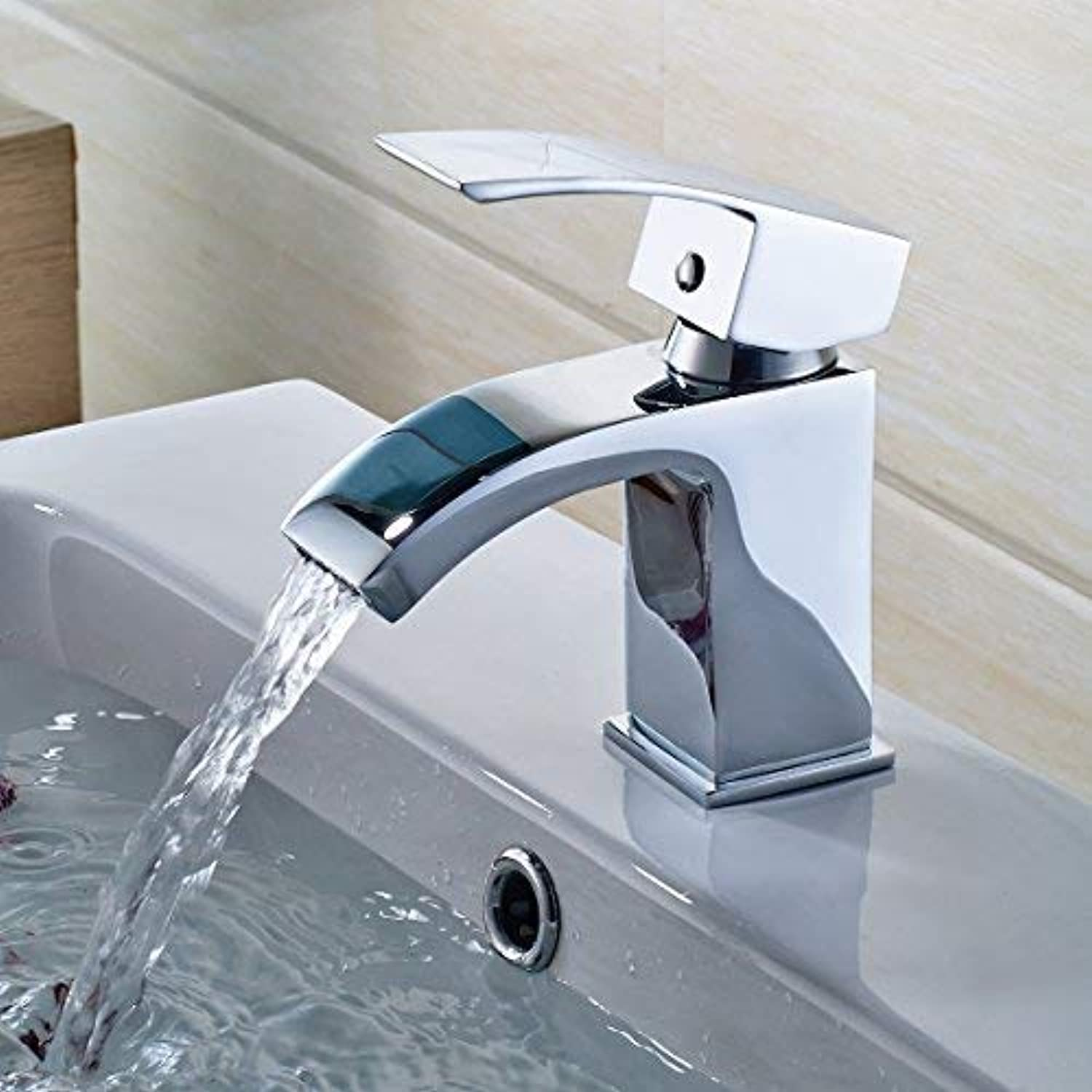 Damoyar Chrome Finish Bathroom Basin Waterfall Mixer Tap Brass Fitting, Hot and Cold Single Handle Monobloc Tap, Monobloc Bathroom Sink Faucet B009