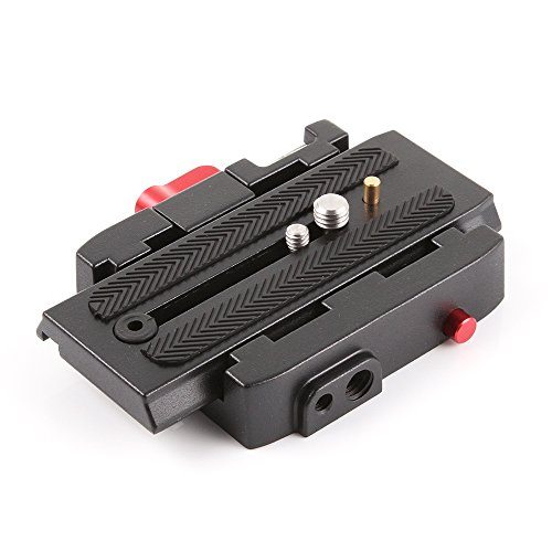 P200 Connect Adapter Mount Quick Release Clamp QR Plate for Manfrotto 500 500AH 701HDV 7M1W 577 Tripod Head and DSLR Video Camera Stabilizer Slider