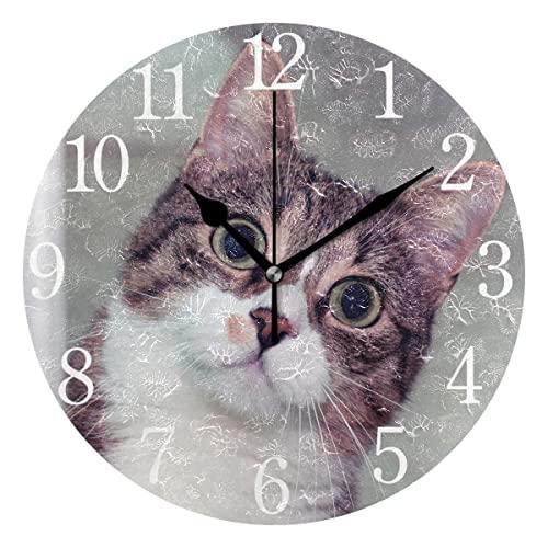 Reloj de pared silencioso con números árabes sin marcas, reloj de pared decorativo redondo para sala de estar, dormitorio, cocina (batería no incluida), gato sorprendido