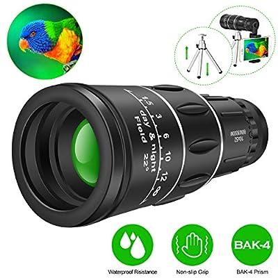 16x52 Waterproof Monocular Dual Focus Optics Zoom Telescope, Day & Low Night Vision, Bak4 Prism for Bird Watching, Hunting, Monitoring and Hiking (16x52)