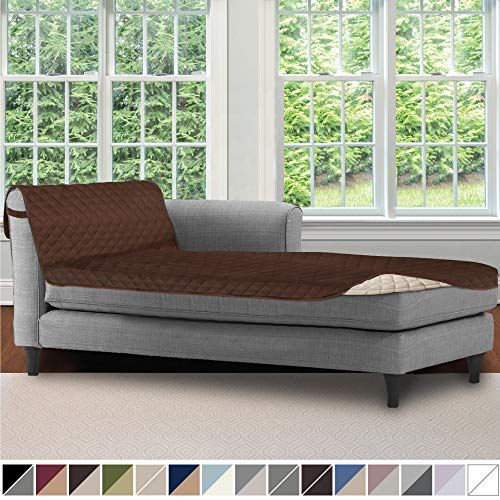Sofa Shield Original Patent Pending Reversible Sofa Chaise Protector, 102x34 Inch, Washable Furniture Protector, 2 Inch Strap, Chaise Lounge Slip Cover for Pets, Dogs, Kids, Cats, Chocolate Beige