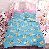 Hiiiman Juego de ropa de cama de 3 piezas con temática Zen japonesa y diseño floral con líneas geométricas y puntos (3 piezas, tamaño king extra grande), juego de edredón con 2 fundas de almohada