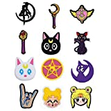 12 Pcs Croc Charms Character Sailor Moon Shoes Charms Decorations Wristband Accessories Birthday Party Gift for Kids