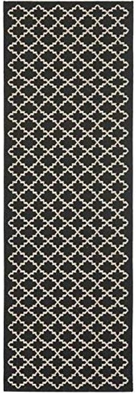 Safavieh Courtyard Collection CY6919-226 Black and Beige Indoor  Outdoor Runner (2'3  x 20')
