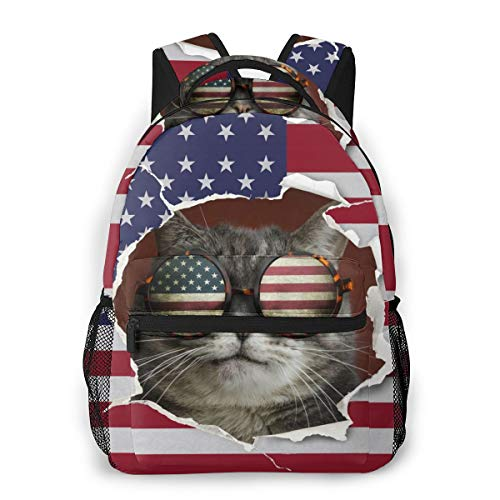 Casual Backpack Cat Behind The Usa Flag 3d All-Over Print Lightweight Bookbag For Kid
