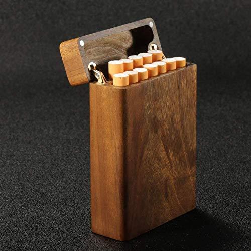 Caja de cigarrillos Caja de cigarrillos de madera maciza Ultralight Caja de cigarrillo creativa multifuncional portátil universal cajas de cigarrillos ( Color : Color1 , Size : Coarse smoke 12 )