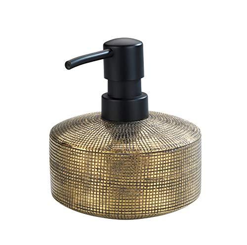 WENKO Seifenspender Rivara, nachfüllbarer Seifendosierer für Flüssigseife und Lotion aus hochwertiger Keramik, handbemalt, Ø 10,5 x 12 cm, Füllmenge 400 ml, Gold