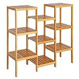 eSituro Estanterías para Baño Cocina de Bambú Librería Estante Escaleras Soporte para Flores Plantas Estante de Pie con 9 Niveles 96.5 x 90 x 33 cm SBSS0016