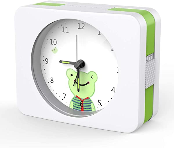 Yonzone Alarm Clock With Snooze Night Light Function Stereoscopic Dial Non Ticking Quite Silent Loud Alarm Clock Battery Operated Easy Set For Kids Green