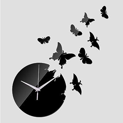Shuangklei New Watch Clocks Wall Stickerhome Decoration DIY 3D Mirror Clock Stickers Living Room Quartz Acrylic