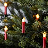Lights4fun, Inc. 50 Warm White LED Red Flameless Christmas Candle Indoor String Lights with Tree Clips