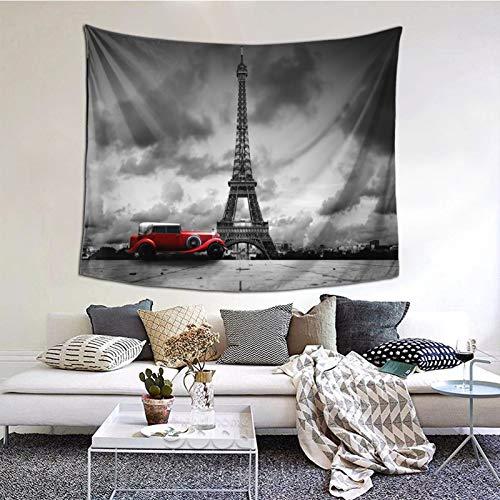 Tapiz de Pared,Artistic Image Of Eiffel Tower Paris France Vintage Car Street Dark Clouds Tapestry (Colgante de Pared)Decoración de Pared Mural del hogar para Dormitorio Sala de Estar 152cmx130cm