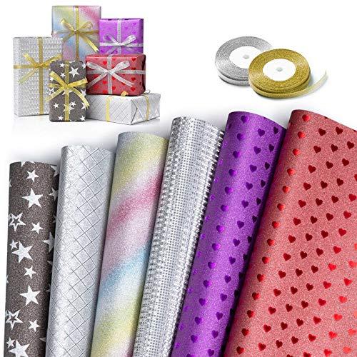 Geschenkpapier, XiYee 6 Stück Packungen Geschenkpapier mit 2 Rolle Band, Geschenkpapier Kinder Geschenkpapier Geburtstag, Geschenkverpackung für Geburtstag, Weihnachten, Valentinstag