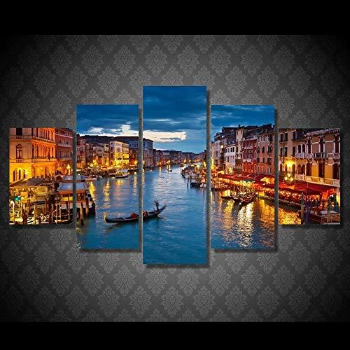 IKDBMUE 5 Piezas de Lienzo Arte Mural Venecia Agua Ciudad Barco Luz Paisaje Pinturas de Lienzo de Año Nuevo Pinturas de Lienzo de Arte de Pared para la Sala de Estar Decoración de Navidad en casa