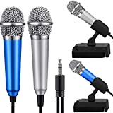 DUDU LYT Mini Microphone, Mini Karaoke Vocal and Recording Microphone Portable for iPhone ipad Laptop Android-Tiny Microphone Ideal for Kids (Blue and Silver)