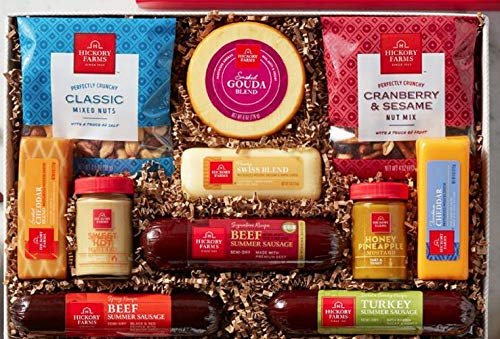 Hickory Farms Signature Party Gift Box Holiday Summer Sausage Cheese Nuts App...
