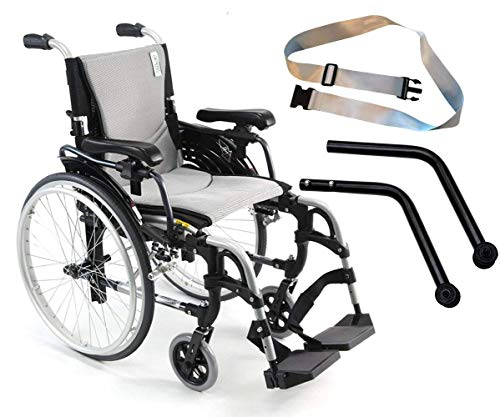 Karman S-Ergo 305 Ultra Lightweight Ergonomic Wheelchairs S-Ergo305Q18SS, Quick Release Wheels, Swing Away Legrests 18'W X 17'D Seat, Frame Color Silver With Include Anti-Tipper & Free Silver Seatbelt